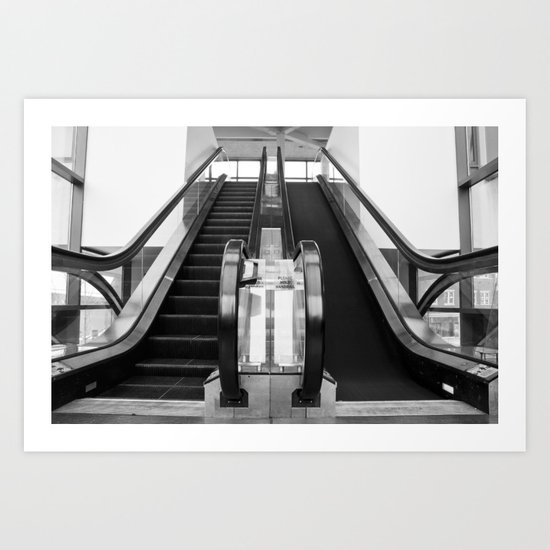 Escalator Becomes Stairs  Art Print