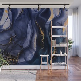 Midnight Dark Blue Marble Alcohol Ink Marble Art Flashes Wall Mural