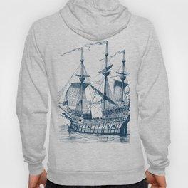 Blue vintage nautical wind sailing boat Hoody