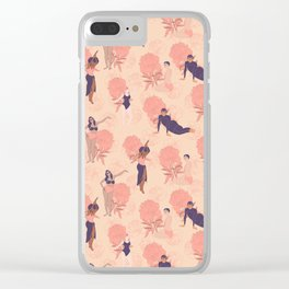 Sisterhood around the world: Women in colorful pink and purple swimming suits with flower background Clear iPhone Case