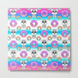 Cute happy funny little Schnauzer puppies, sweet yummy Kawaii adorable colorful donuts cartoon bright white and blue pattern design. Metal Print