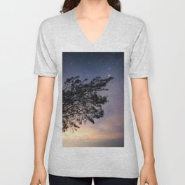 Amazing starry scene. Silhouette of a tree with colorful starry sky. Unisex V-Neck