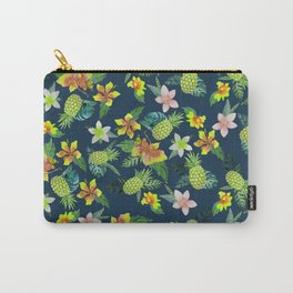 Tropical lime green coral navy blue pineapple watercolor floral Carry-All Pouch