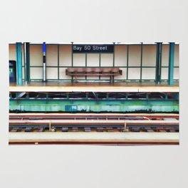 A platform bench Rug