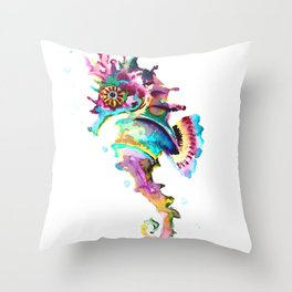 Seahorse , multi colored sea world animal art, design, cute animal art beach Throw Pillow