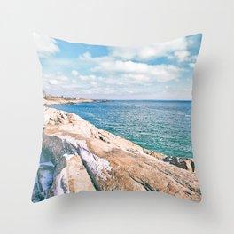Narragansett Rocks Throw Pillow