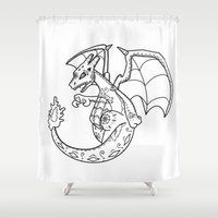 charizard Shower Curtains featuring Charizard de los Muertos | Pokémon & Day of the Dead Mashup by Aaron Bowersock