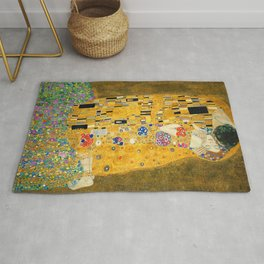 The Kiss, Fine Art Print, Gustav Klimt, Wedding Love Romance Gift Rug