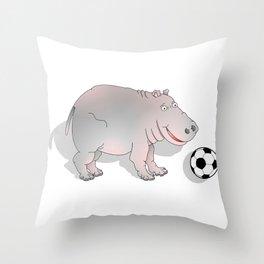 Hippo playing Football Throw Pillow