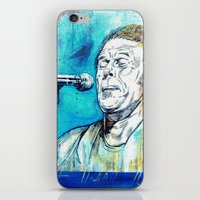tom waits iPhone & iPod Skins featuring Blue Tom Waits by Mark Matlock