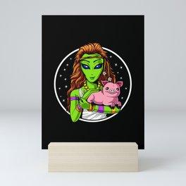 Space Hippie Alien Girl Vegan Mini Art Print