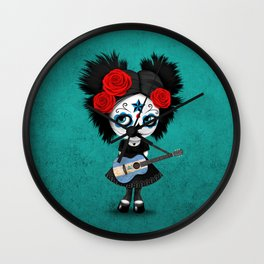 Day of the Dead Girl Playing Nicaraguan Flag Guitar Wall Clock