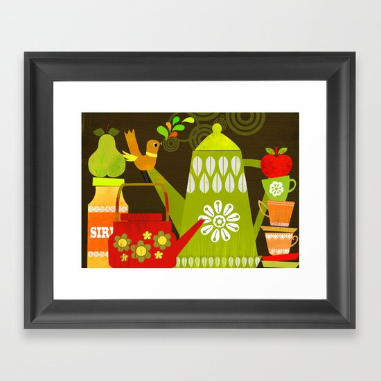 Retro Kitchen Framed Art Print By Elisandra Sevenstar