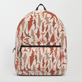 Swimming with Sharks in Coral and Brown Backpack
