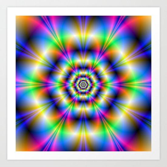 Neon Hexagons Art Print
