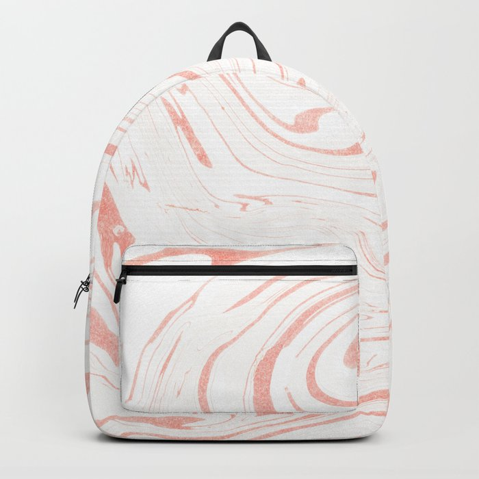 Rose Gold Marble Ink Swirl Backpack