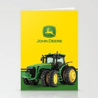 john green Stationery Cards featuring John Deere Green Tractor by rumahcreative