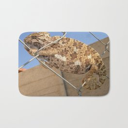 Chameleon In Shades of Brown on Fence Bath Mat