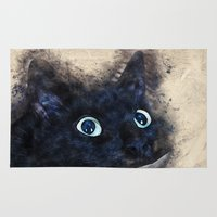 black cat Area & Throw Rugs featuring Black cat by jbjart