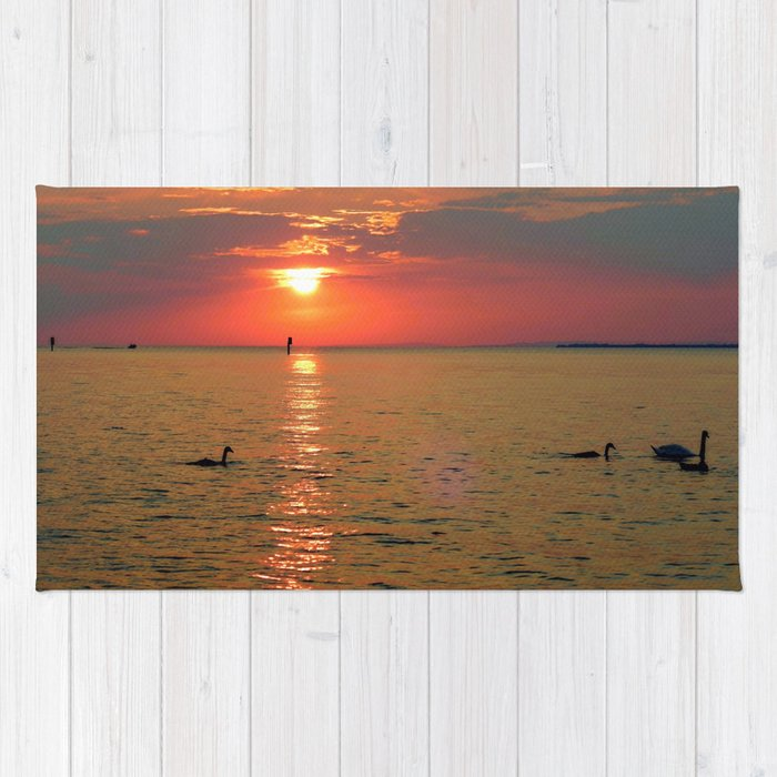 Swans in the Sunset Rug