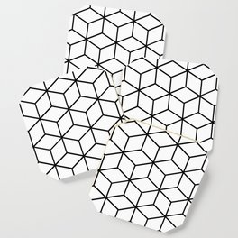 Black and White - Geometric Cube Design I Coaster