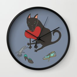 Black Dog Love Wall Clock