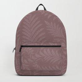 Pantone Red Pear Fancy Leaves Scroll Damask Pattern Backpack