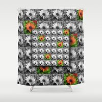 leah flores Shower Curtains featuring Flores by Henry Daniel
