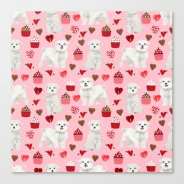 Maltese valentines day cute pet gifts for dog person maltese dog breed pattern with hearts Canvas Print