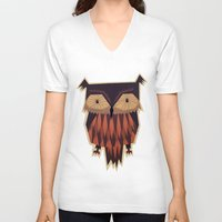 owl V-neck T-shirts featuring Owl by Yetiland