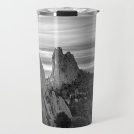Garden of the Gods - Colorado Springs Landscape in Black and White Travel Mug