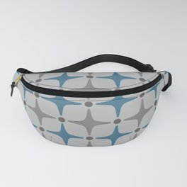 Mid Century Modern Star Pattern Grey and Blue Fanny Pack