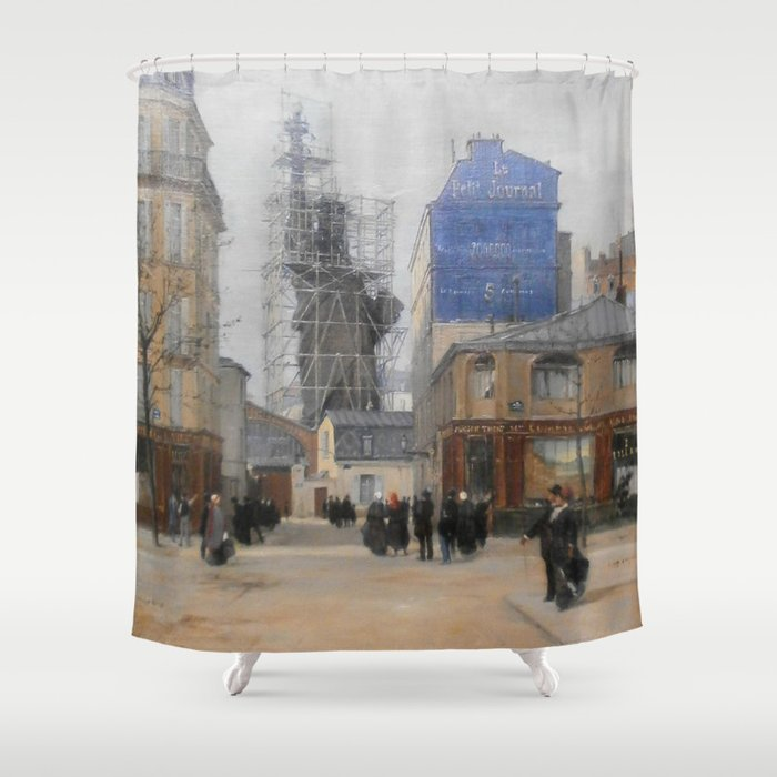Vintage Statue Of Liberty Construction Painting Shower Curtain By Bravuramedia