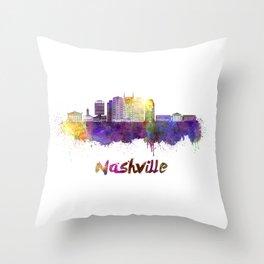 Nashville skyline in watercolor Throw Pillow