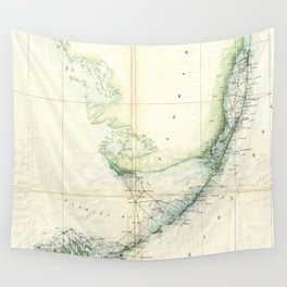Vintage Map of The Florida Keys (1859) Wall Tapestry