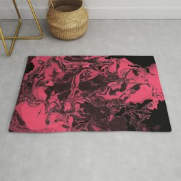 Pink and black Marble aqrylic Liquid paint art Rug