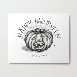 Hand drawn handwriting lettering happy halloween spooky smiling toothless pumpkin Metal Print