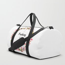 Floral I fucking hate people Duffle Bag