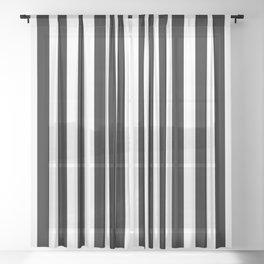 Large Black and White Cabana Stripe Sheer Curtain