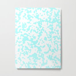 Spots - White and Celeste Cyan Metal Print