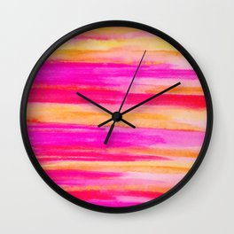 Welcome to Funky Town - Disco Inferno Dance Party Bold Rainbow Stripes Abstract Watercolor Painting Wall Clock