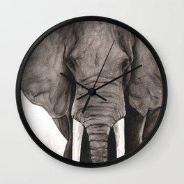 Black & White Watercolor Elephant Wall Clock