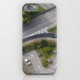 Aerial view of street street and ramps iPhone Case