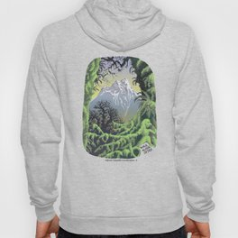 WALK ALONE SPIRIT IN RAIN FOREST AND MOUNTAINS PEN DRAWING Hoody