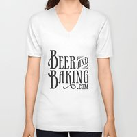 baking V-neck T-shirts featuring Beer and Baking Logo by BeerandBaking