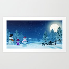 Snowman family in a moonlit winter landscape at night Art Print