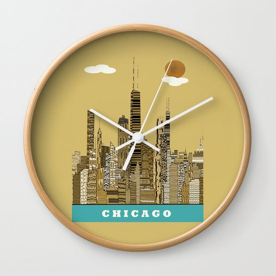 Chicago city (vintage Wall Clock