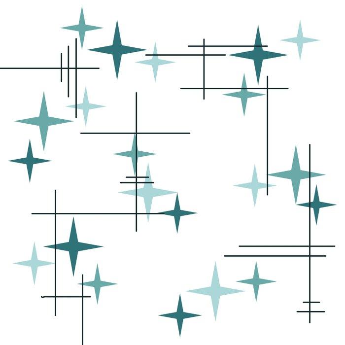 Mid Century Modern Stars (Teal) Duvet Cover