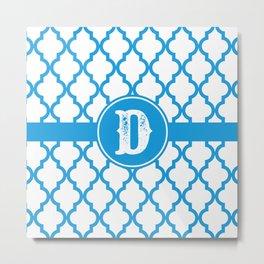 Blue Monogram: Letter D Metal Print