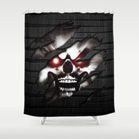 punisher Shower Curtains featuring The Dark Skull by Andrian Kembara